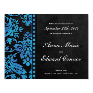 Blue Vintage Damask Lace Save the Date 4.25x5.5 Paper Invitation Card