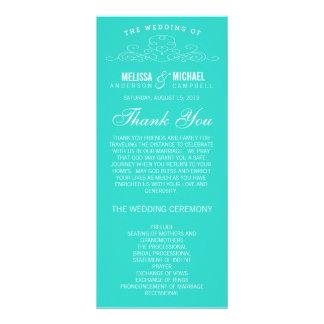 BLUE VINTAGE ELEGANCE WEDDING PROGRAM CUSTOMIZED RACK CARD