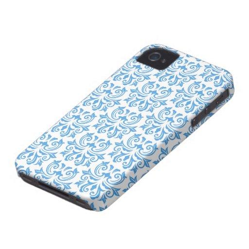 Blue vintage floral damask pattern BlackBerry case