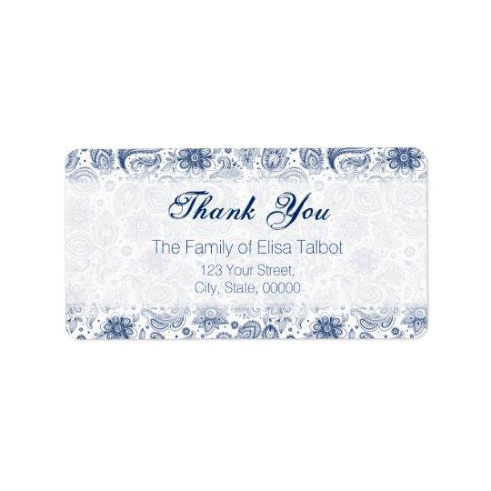 Blue Vintage Floral Pattern Family Thank You Label