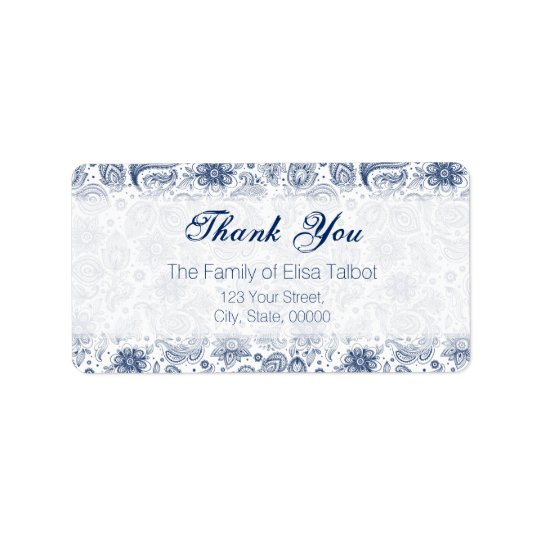 Blue Vintage Floral Pattern Family Thank You Label Address Label