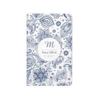 Blue Vintage Floral Pattern Monogram Journal