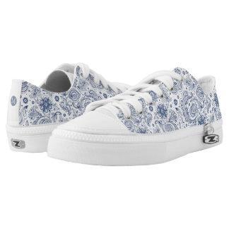 Blue Vintage Floral Pattern Monogram LowT Shoes