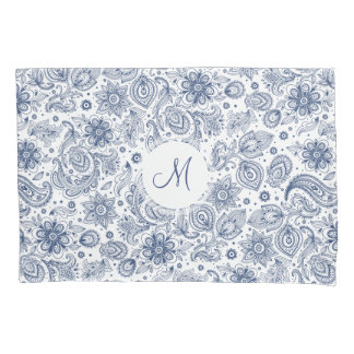 Blue Vintage Floral Pattern Monogram Pillow Case