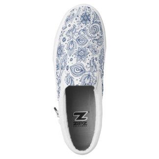 Blue Vintage Floral Pattern Monogram Slip Shoes