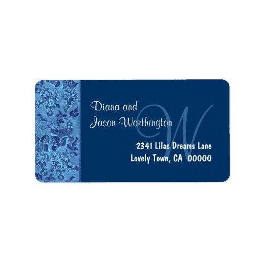 Blue Vintage Floral Ribbon Monogram Wedding Label