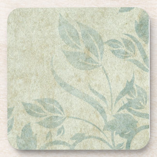 Blue Vintage Floral Vine Wedding Drink Coasters
