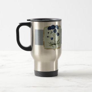 Blue Vintage Flowers Wide Travel Mug