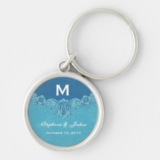 Blue Vintage Frame Custom Monogram Wedding Silver-Colored Round Key Ring