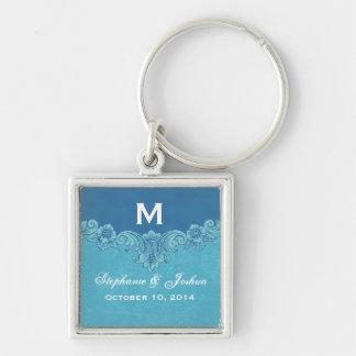 Blue Vintage Frame Custom Monogram Wedding Silver-Colored Square Key Ring