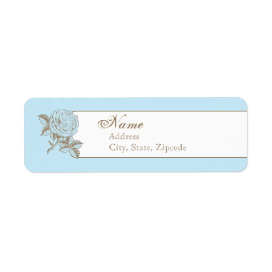 Blue Vintage French Return Address Label