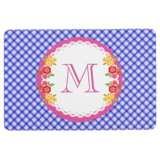 Blue vintage gingham flower monogram floor mat