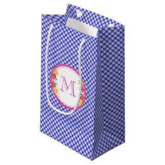 Blue vintage gingham flower monogram woman small gift bag
