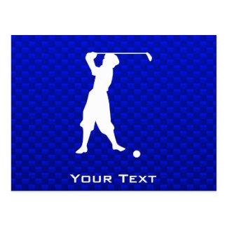 Blue Vintage Golfer Postcard