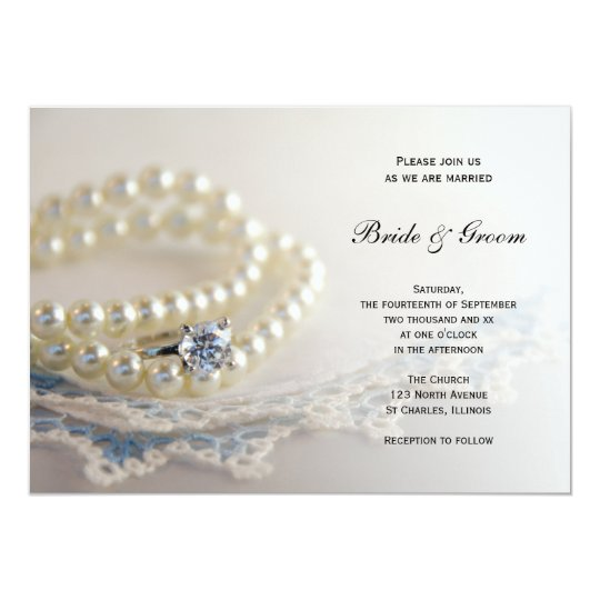 Blue Vintage Lace, Pearls and Diamond Ring Wedding Card