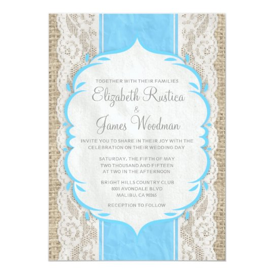 Blue Vintage Linen Burlap Lace Wedding Invitations