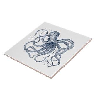 Blue Vintage Nautical Octopus Large Square Tile