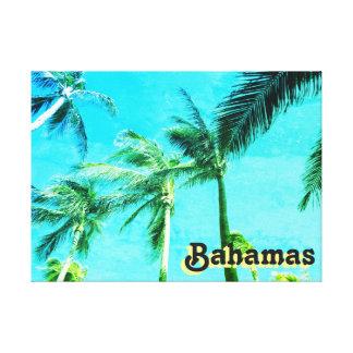 Blue Vintage Palm Trees Canvas Print