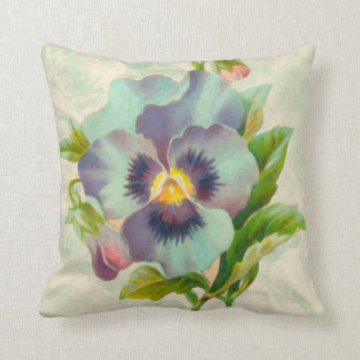 Blue Vintage Pansy Watercolor Throw Cushions