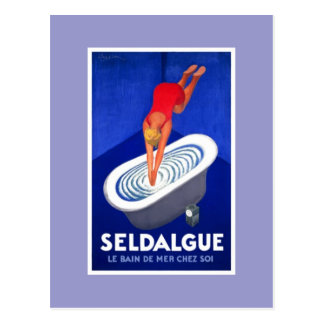 Blue vintage postcard Seldague