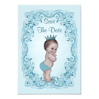 Blue Vintage Prince Save The Date Baby Shower 9 Cm X 13 Cm Invitation Card