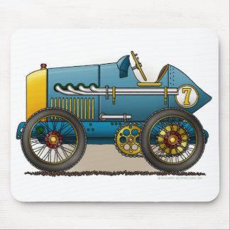 Blue Vintage Race Car Mouse Pad