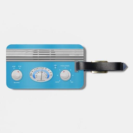 Blue Vintage Radio Bag Tags