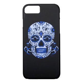 Blue Vintage Skully Skull Dead Head Party Skull iPhone 7 Case