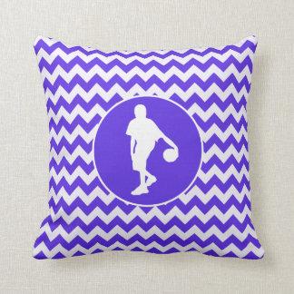 Blue Violet Chevron; Basketball Throw Pillow