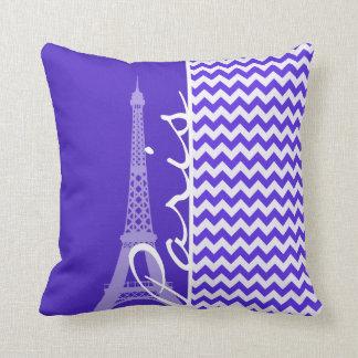 Blue Violet Chevron; Eiffel Tower Throw Pillow
