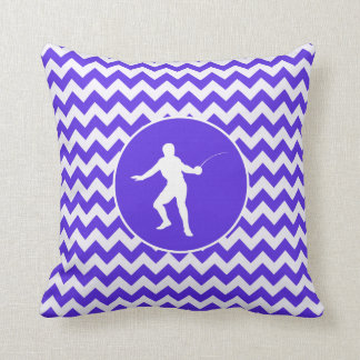 Blue Violet Chevron; Fencing Cushions
