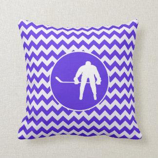Blue Violet Chevron; Hockey Cushion
