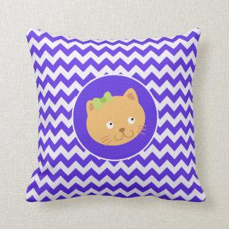 Blue Violet Chevron; Kitten Throw Cushion