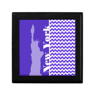 Blue Violet Chevron; New York Trinket Box
