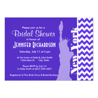 Blue Violet Chevron; New York 13 Cm X 18 Cm Invitation Card