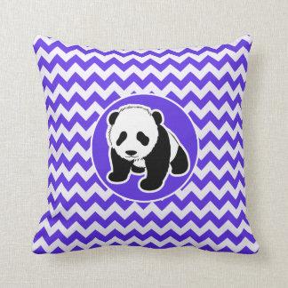 Blue Violet Chevron; Panda Throw Pillow