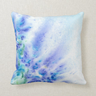Blue Violet Field of Flowers Abstract Watercolor Cushions