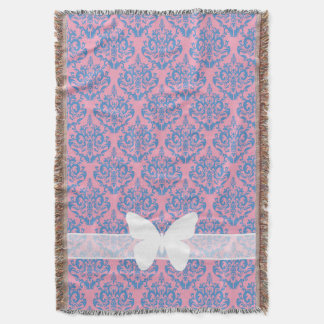 Blue Violet Frosted Orchid Damask with Butterfly