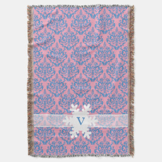Blue Violet Frosted Orchid Damask with Snowflake