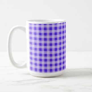 Blue Violet Gingham; Checkered Mug