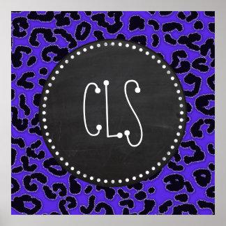 Blue Violet Leopard Print Vintage Chalkboard look