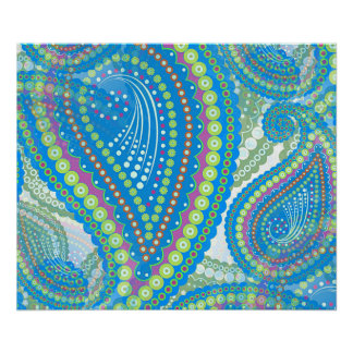 Blue Violet Lime Green Paisley Floral Pattern Poster