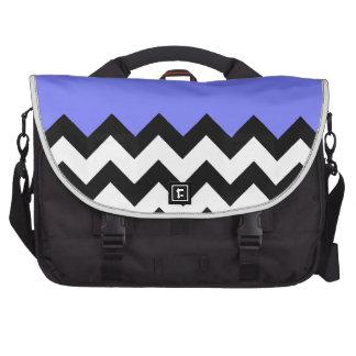 Blue-Violet-On-Black-&-White-Zigzag-Pattern Laptop Computer Bag