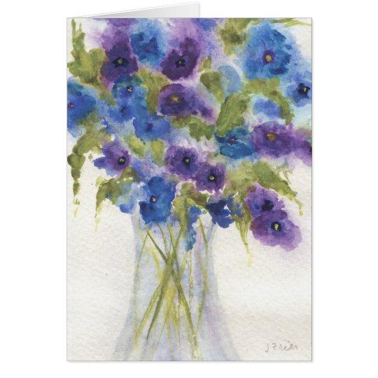 Blue Violet Pansies Card