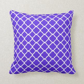 Blue Violet Quatrefoil Throw Pillow