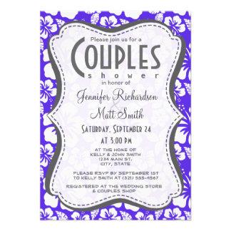 Blue Violet Tropical Hibiscus Invitations