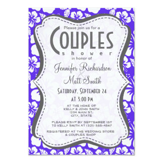 Blue Violet Tropical Hibiscus 11 Cm X 16 Cm Invitation Card