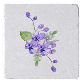 Blue Violet Water Colour Orchid Trivet