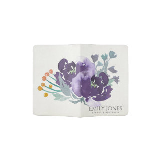 BLUE VIOLET YELLOW WATERCOLOUR FLORAL MONOGRAM PASSPORT HOLDER