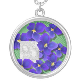 Blue Violets Round Pendant Necklace